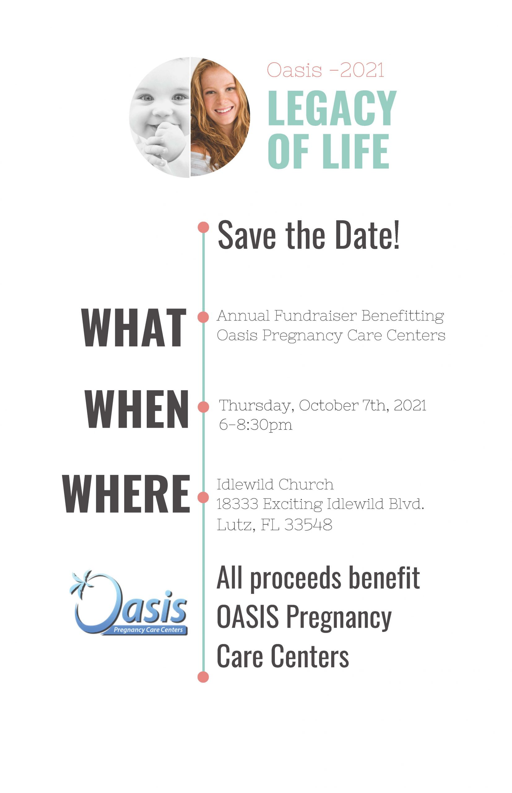 Full Save The Date Info Page for 2021 Oasis Legacy Life Event